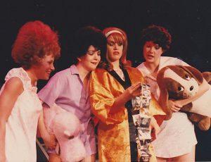 Karen Jordan, Tanya Moberly, Susan Hackett & Suzanne Powers in GREASE 1986
